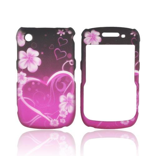 Blackberry Curve 9330, 9300, 8530, 8520 Rubberized Hard Case - Hot Pink/ Purple Flowers & Hearts