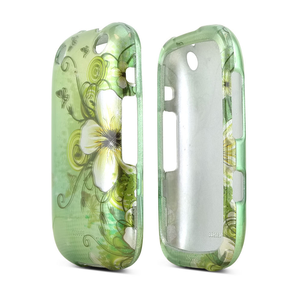 BlackBerry Curve 9310/9320 Rubberized Hard Case - White Hawaiian Flowers on Green