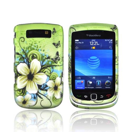 Blackberry Torch 9800 Rubberized Hard Case - White Hawaiian Flowers on Green