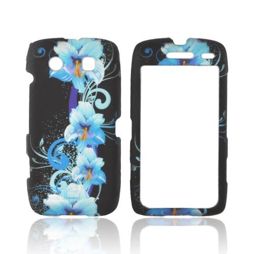 Blackberry Torch 9850 Rubberized Hard Case - Blue Flowers on Black