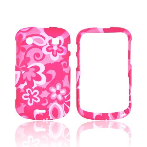 Blackberry Bold 9900, 9930 Rubberized Hard Case - Pink Flowers on Pink