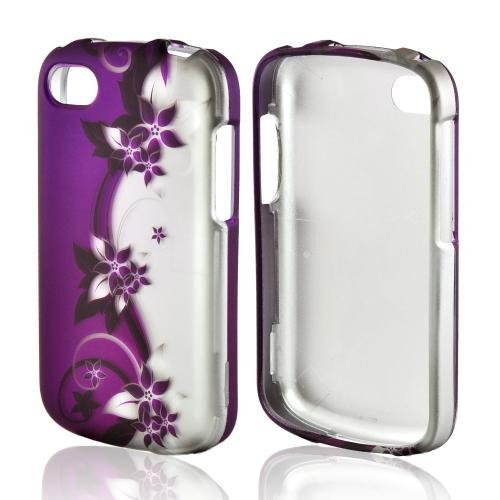 Black Vines on Purple/Silver Rubberized Hard Case for Blackberry Q10