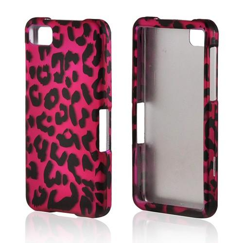 Hot Pink/ Black Leopard Rubberized Hard Case for BlackBerry Z10