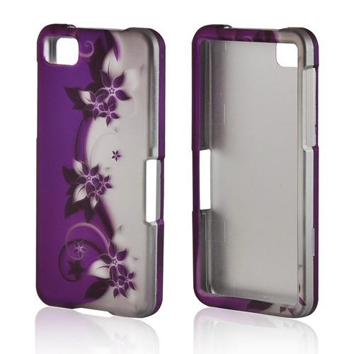 Purple Flowers/ Vines on Silver Rubberized Hard Case for BlackBerry Z10