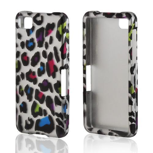 Rainbow Leopard on Silver Rubberized Hard Case for BlackBerry Z10