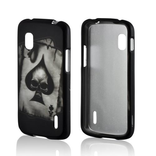 Ace Skull on Black Rubberized Hard Case for LG Google Nexus 4