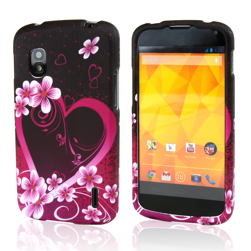 Hot Pink/ Purple Flowers & Heart Rubberized Hard Case for Google Nexus 4