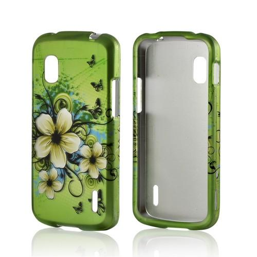 White Hawaiian Flowers on Green Rubberized Hard Case for Google Nexus 4
