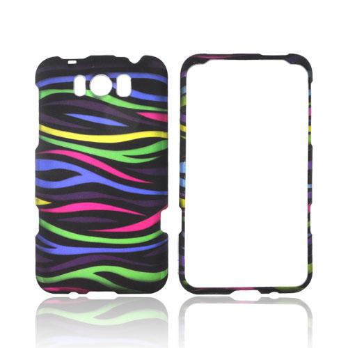 HTC Titan Rubberized Hard Case - Rainbow Zebra on Black