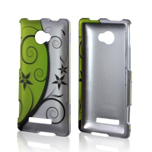 HTC 8X Rubberized Hard Case - Black Vines on Green/ Silver
