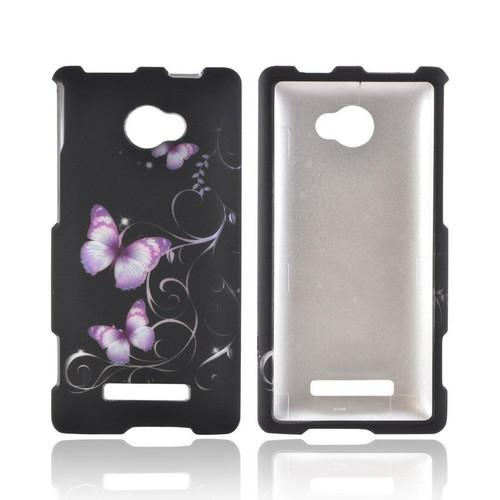 HTC 8X Rubberized Hard Case - Purple Butterflies on Black