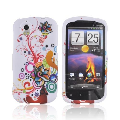 HTC Amaze 4G Rubberized Hard Case - Rainbow Autumn Floral Design on White