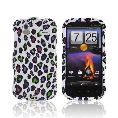 HTC Amaze 4G Rubberized Hard Case - Colorful Leopard on White