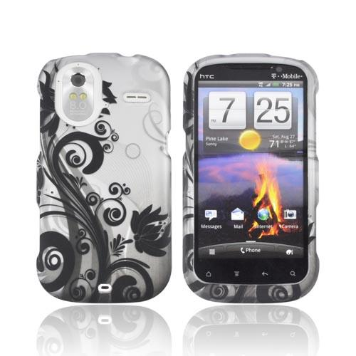 HTC Amaze 4G Rubberized Hard Case - Black Vines & Flowers on Silver