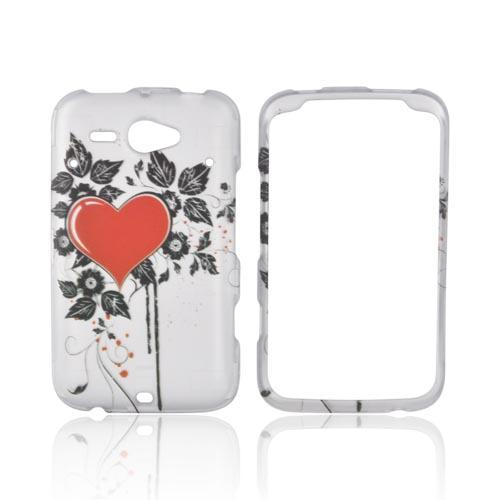 HTC Status Rubberized Hard Case - Red Heart & Black Leaves on Silver