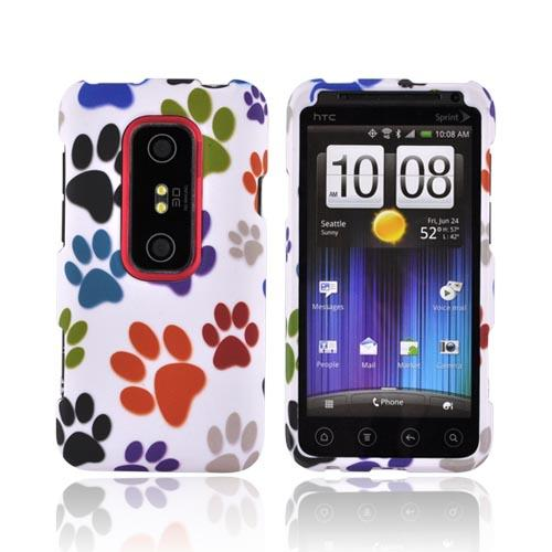 HTC EVO 3D Rubberized Hard Case - Rainbow Paw Prints on White