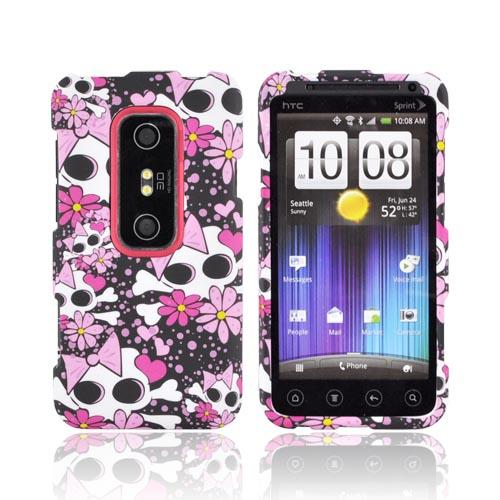 HTC EVO 3D Rubberized Hard Case - Skulls w/ Pink Bows & Flowers