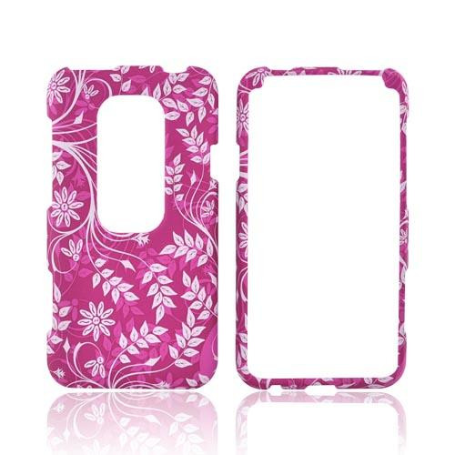 HTC EVO 3D Rubberized Hard Case - White Vines/ Leaves on Magenta