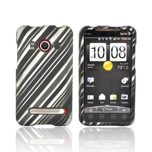 HTC EVO 4G Rubberized Hard Case - Diagonal Silver Lines on Black