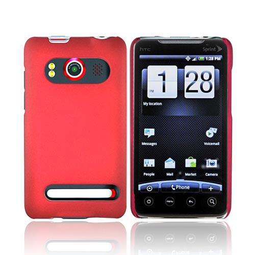 HTC Evo 4G Rubberized Hard Case - Red
