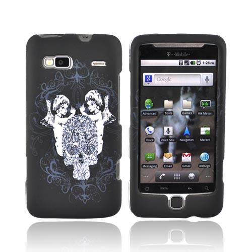 T-Mobile G2 Rubberized Hard Case - Angel Skull on Black
