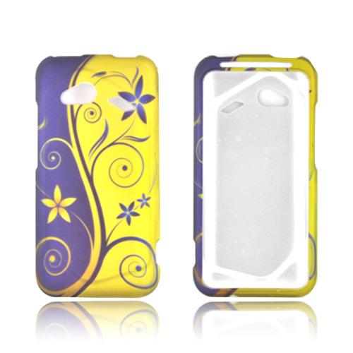 HTC Droid Incredible 4G Rubberized Hard Case - Purple/ Gold Royal Swirl & Flowers