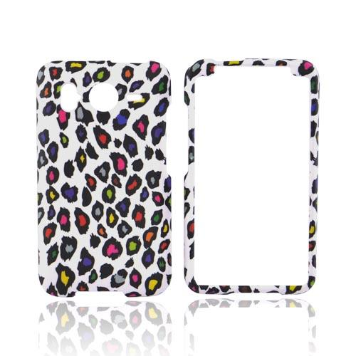 HTC Inpsire 4G Rubberized Hard Case - Colorful Leopard on White