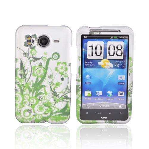 HTC Inspire 4G Rubberized Hard Case - Green Vines on Silver