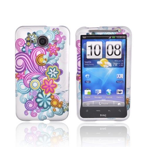 HTC Inspire 4G Rubberized Hard Case - Colorful Floral Design on Silver