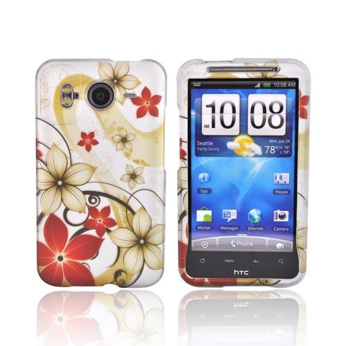 HTC Inspire 4G Rubberized Hard Case - Beige Floral Design on Silver
