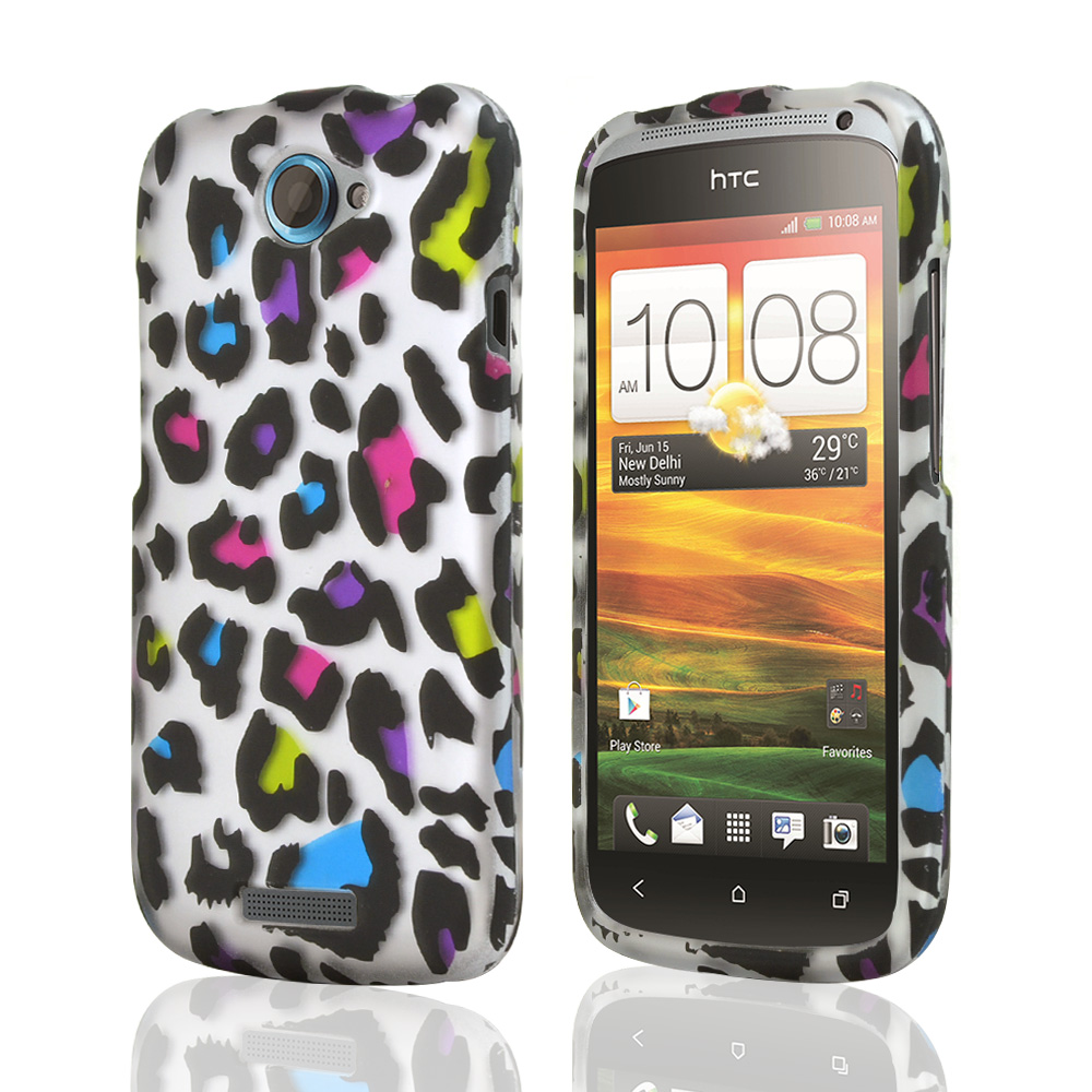 HTC One S Rubberized Hard Case - Colorful Leopard on White