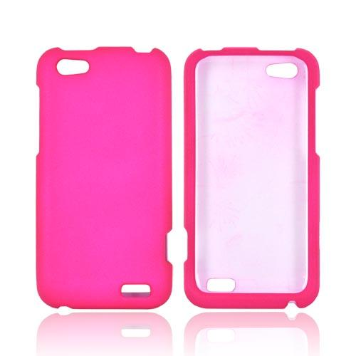 HTC One V Rubberized Hard Case - Hot Pink