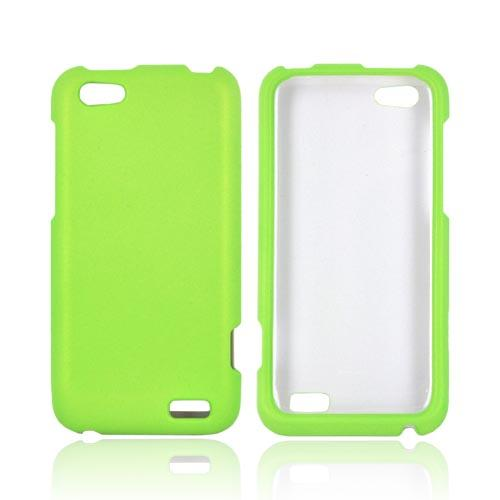HTC One V Rubberized Hard Case - Neon Green