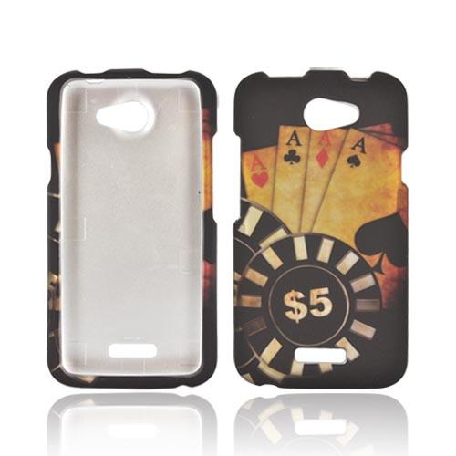 HTC One X Rubberized Hard Case - Black/ Gold Aces Poker