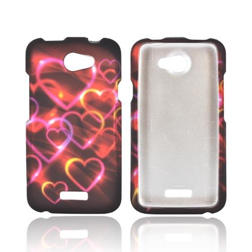 HTC One X Rubberized Hard Case - Pink/ Gold Hearts on Espresso Brown