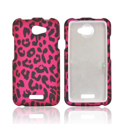 HTC One X Rubberized Hard Case - Hot Pink/ Black Leopard