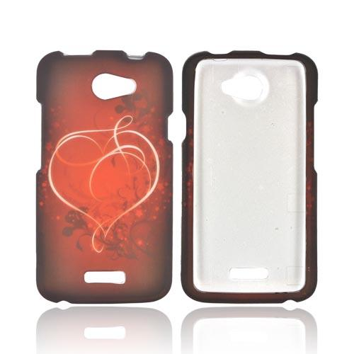 HTC One X Rubberized Hard Case - Red Heart on Stars