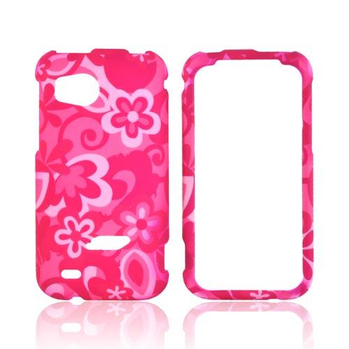 HTC Rezound Rubberized Hard Case - Pink Flowers on Pink