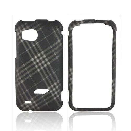HTC Rezound Rubberized Hard Case - Gray Plaid on Black