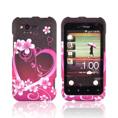 HTC Rhyme Rubberized Hard Case - Hot Pink/ Purple Flowers & Hearts