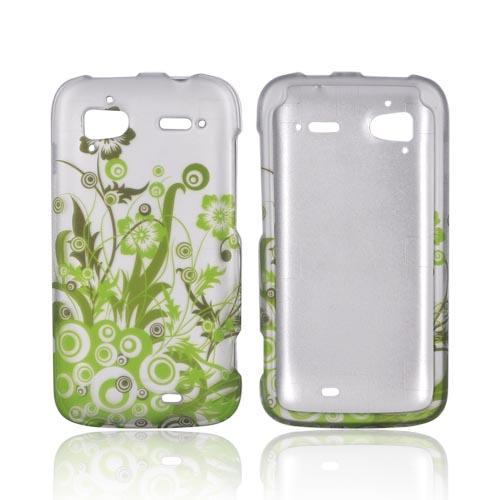 HTC Sensation 4G Rubberized Hard Case - Green Vines & Flowers on Gray