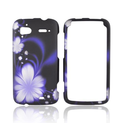 HTC Sensation 4G Rubberized Hard Case - Purple Flowers on Black