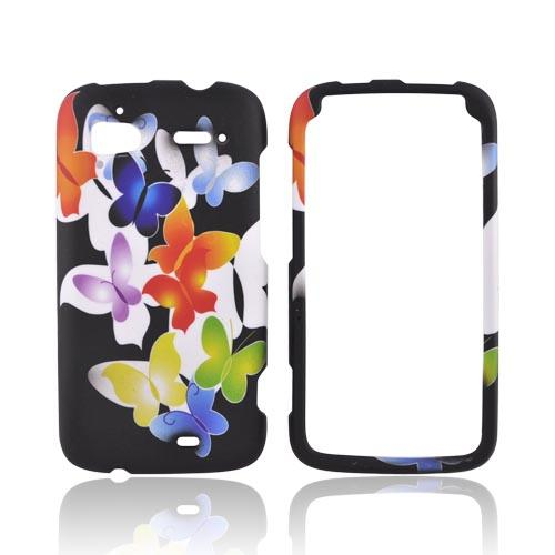 HTC Sensation 4G Rubberized Hard Case - Rainbow Butterflies on Black