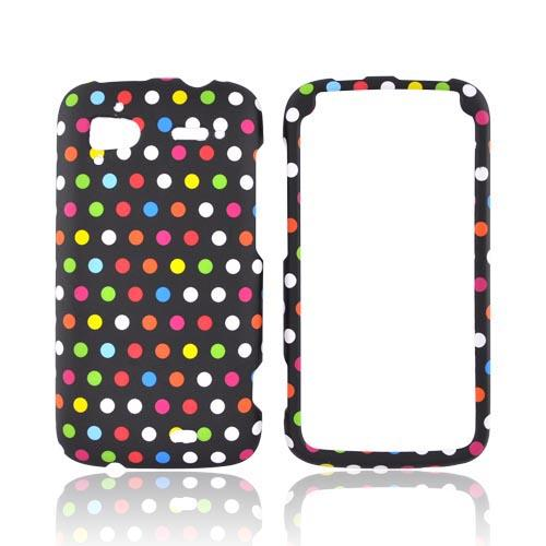 HTC Sensation 4G Rubberized Hard Case - Rainbow Polka Dots