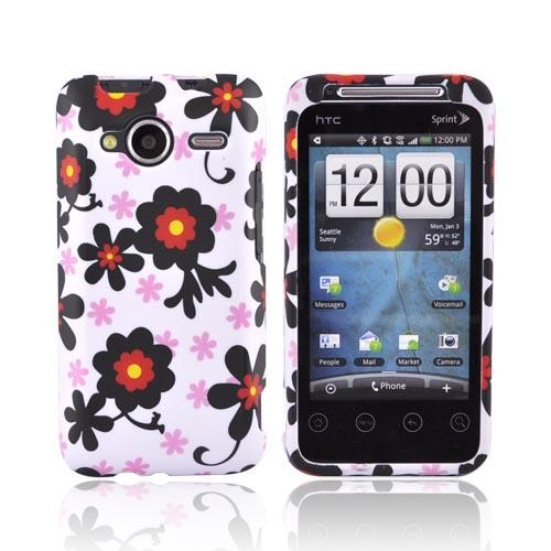 HTC EVO Shift 4G Rubberized Hard Case - Black Daisies on White