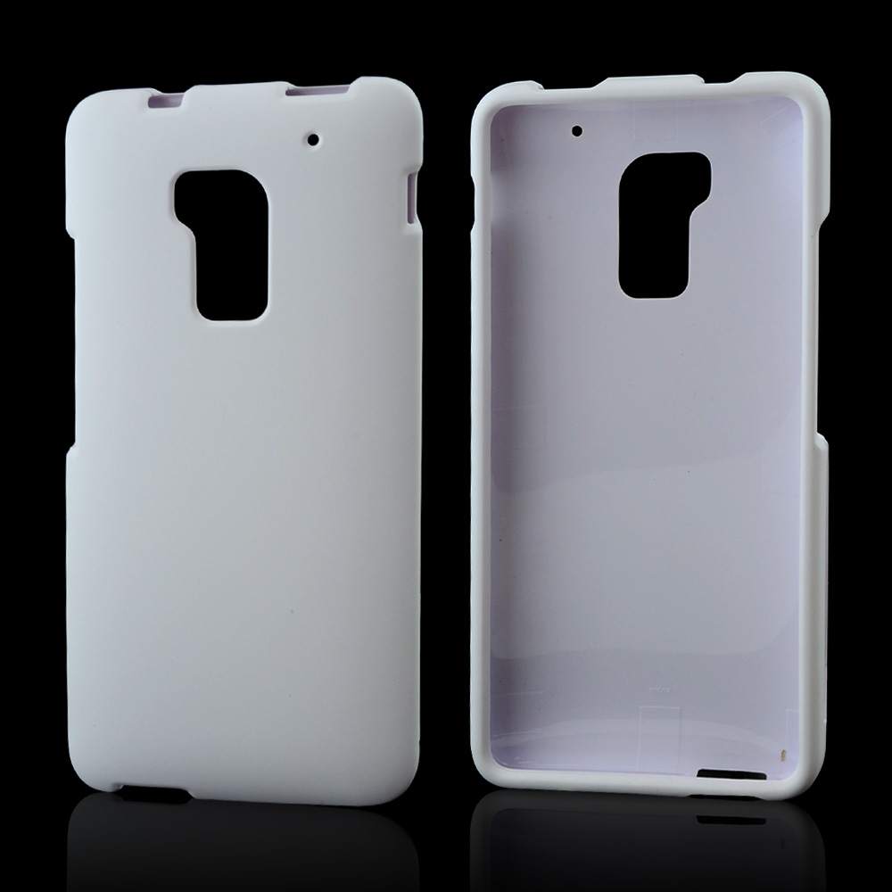 White Rubberized Hard Case for HTC One Max
