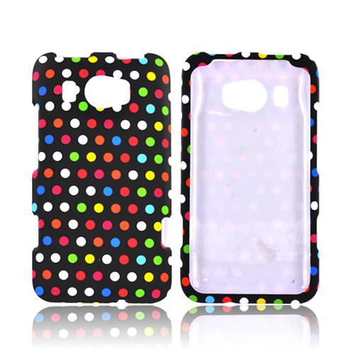 HTC Titan 2 Rubberized Hard Case - Rainbow Polka Dots on Black