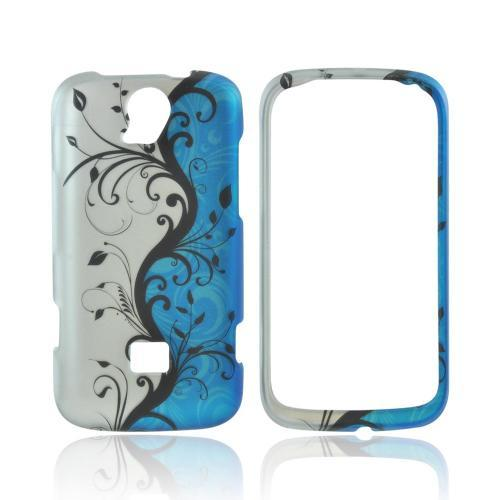 T-Mobile Huawei myTouch Q 2 Rubberized Hard Case - Black Vines on Silver/ Blue