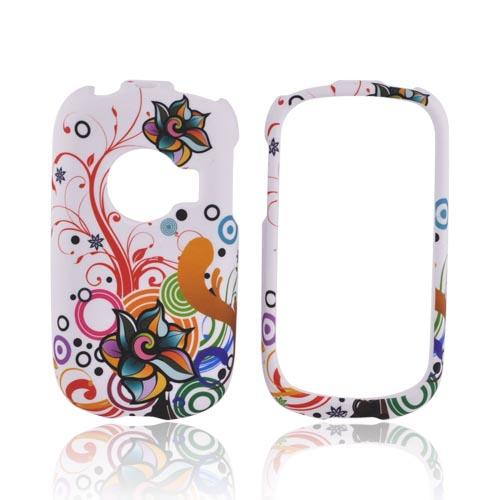 Huawei M835 Rubberized Hard Case - Rainbow Autumn Floral Design on White
