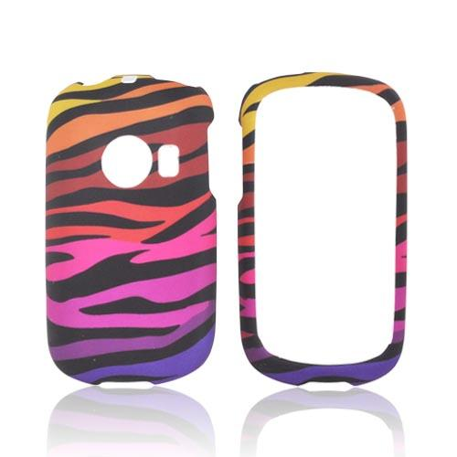 Huawei M835 Rubberized Hard Case - Rainbow Zebra on Black